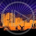miasto noc ludzie break dance hip-hop