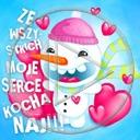 serce miłość serduszka zima bałwan napis miłosne tekst serduszko bałwanek bałwany serca moje serce ze wszystkich kocha naj