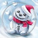 serce miłość Mikołaj zima śnieg bałwan Boże Narodzenie miłosne serca