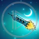 niebo kosmos noc księżyc rakieta kosmiczna astronauci