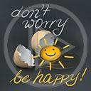 buźka jajka jajko buzia słoneczko napis be happy skorupki don't worry