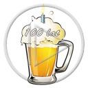 urodziny piwo kufel świeczka pianka napój 100 lat