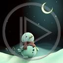 noc księżyc zima śnieg bałwan bałwany